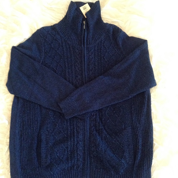 Blue Cable Knit Zip Cardigan